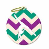 Bag Tag - Handstand in Turquoise and Purple Chevron