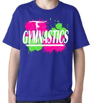 Gymnastics t shirt with splatter design cobalt blue Gymnastics t shirt designs