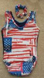 Gymnastics Leotards-American Flag in Red, White & Blue