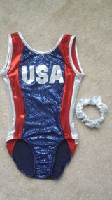Gymnastics Leotard in Red, White & Blue with USA Motif