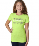 'Gymnastics' T-Shirt in Neon Green with Royal/White Design