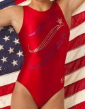 Red Gymnastics Leotards w/ Royal and Silver Sequins