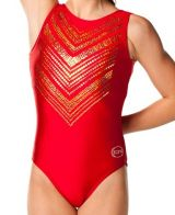 Scarlet Gymnastics Leotards with Gold Sequins