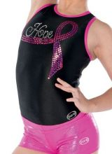 Black Gymnastics Leotards with 'HOPE' Motif-Racerback