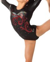 Black Gymnastics Leotards with Red and Silver Sequins