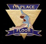 Custom Gymnastics Lapel Pin-'First Place Floor'