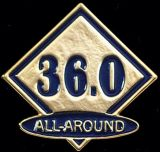 Custom Gymnastics Lapel Pin-'36.0 All Around'
