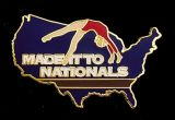 Custom Gymnastics Lapel Pin-'Made It to Nationals'