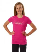 Fitted Gymnastics T-Shirt in Raspberry with Cool Design