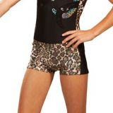 Leopard Gymnastics Boy Shorts With Black Side Panel